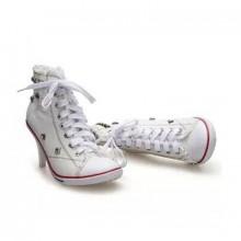 Tênis com Salto - Jeans Branco