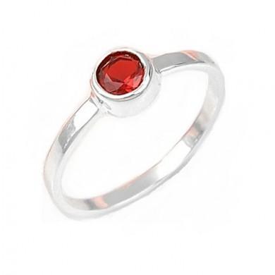 Anel Solitário com Quartzo Vermelho