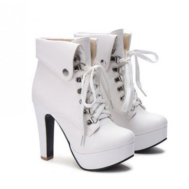 Ankle Boot - Branca com Cadarço