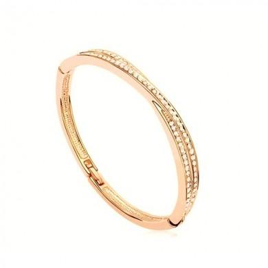 Bracelete Dourado Médio com Swarovski