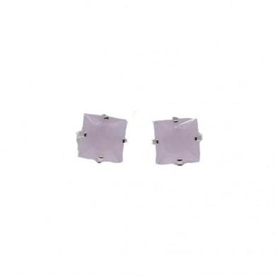 Brincos Micro Quadrados Rosa - 0,3cm