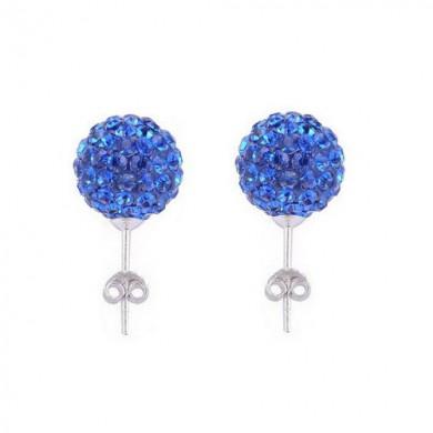 Brincos de Bolas com Swarovski Azul Royal