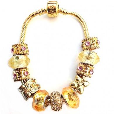 Pulseira Estilo Pandora - Pingentes Dourados