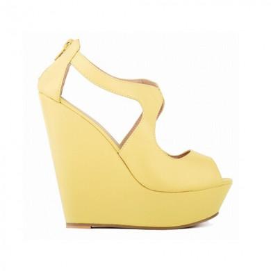 Peep Toe - Anabela Amarelo