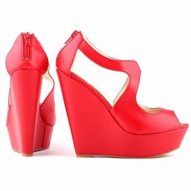 Peep Toe - Anabela Vermelho