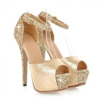 Peep Toe - Brilhante Dourado