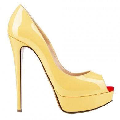 Peep Toe - Verniz Amarelo