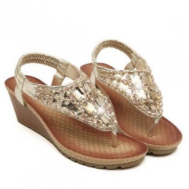 Sandália - Anabela Dourada