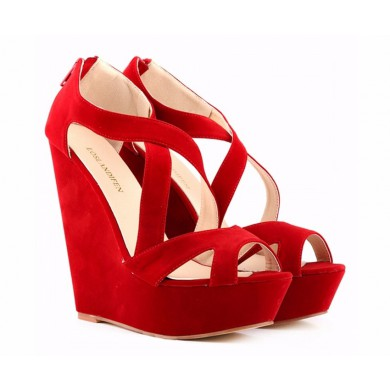 Sandália - Anabela Vermelha