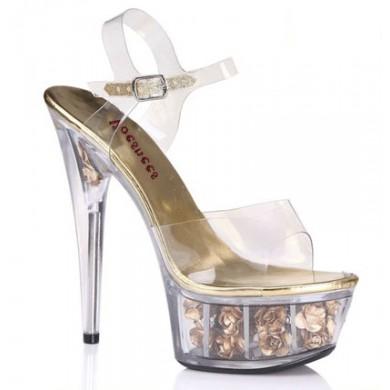Sandália de Cristal - Dourada com Rosas