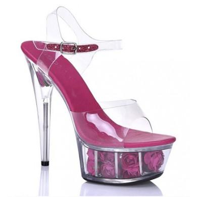 Sandália de Cristal - Pink com Rosas