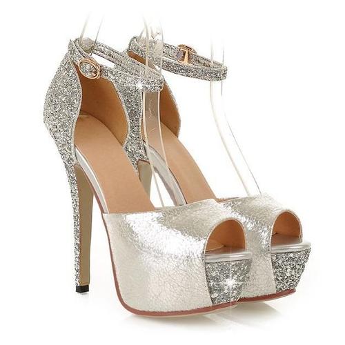2f61d554ad Peep Toe - Brilhante Prata - Sapatos Importados - Sapatos