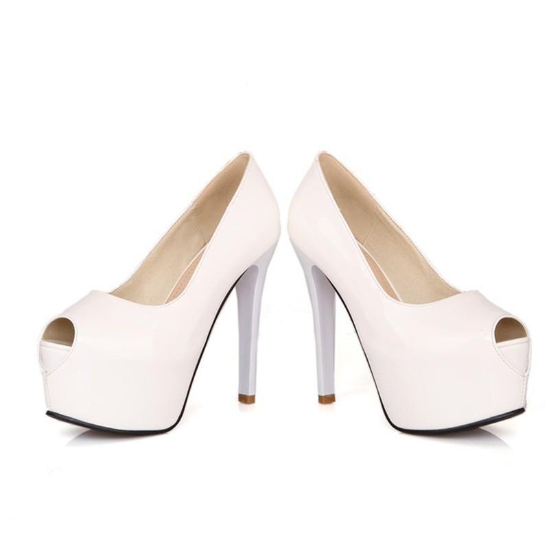 710ed02c7 Peep Toe - Verniz Branco - Peep Toes - SAPATOS - Especial Noivas