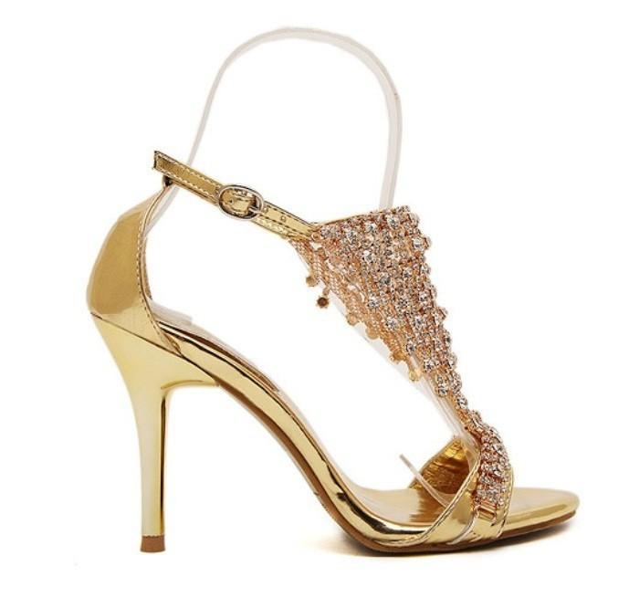 a76345c6fc Sandália - Dourada com Strass - Sandálias - Sapatos Importados - Sapatos