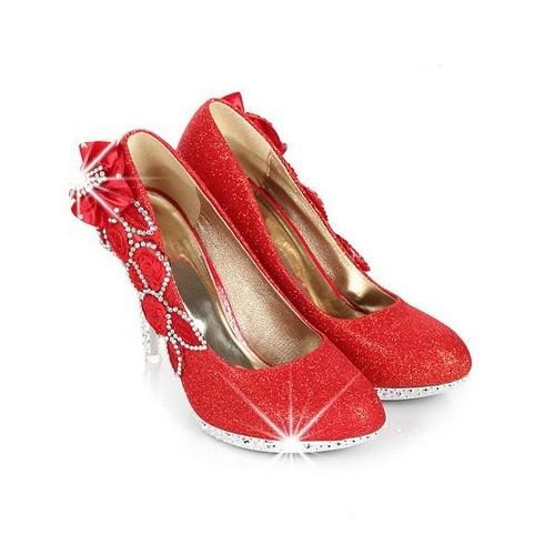 62b98006b5 Scarpin - Brilhante Vermelho com Salto Trabalhado - Scarpins ...