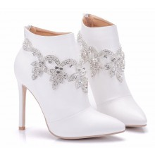 Ankle Boot - Branca com Cristais