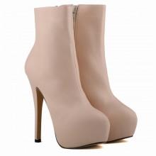 Ankle Boot - Nude com Meia Pata