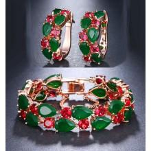 Conjunto Luxo Verde e Pink