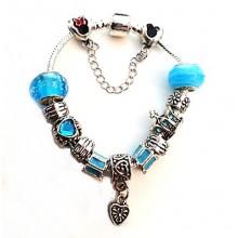 Pulseira Estilo Pandora  - Pingentes em Azul Claro