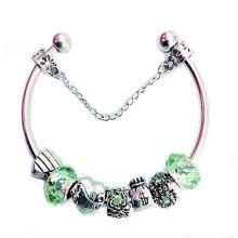 Pulseira Estilo Pandora  - Pingentes Verdes