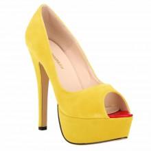 Peep Toe - Camurça Amarelo