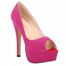 Peep Toe - Camurça Pink