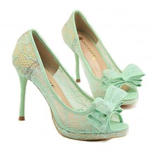 Peep Toe de Renda Mint
