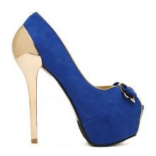 Peep Toe - Azul e Dourado