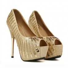 Peep Toe - Lantejoula Dourada