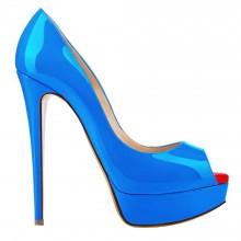 Peep Toe - Verniz Azul