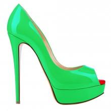 Peep Toe - Verniz Verde