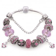 Pulseira Estilo Pandora - Pingentes Rosa