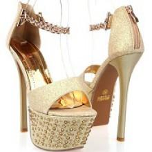 Sandália - Brilhante Dourada com Cristais