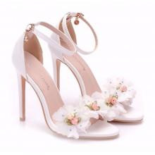 Sandália - Branca com Flores