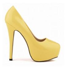 Scarpin - Amarelo com Meia Pata