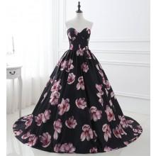 Vestido de Festa Florido Preto - V00056