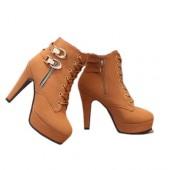 Ankle Boot - Caramelo com Cadarço