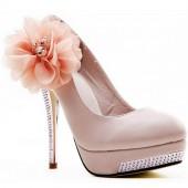 Scarpin - Rosa com Flor e Salto Trabalhado